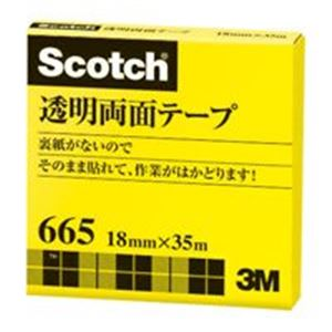驚きの値段 3M スリーエム 透明両面テープ 665-3-18 18mm×35m:Shop E-ASU (業務用20セット)-DIY・工具