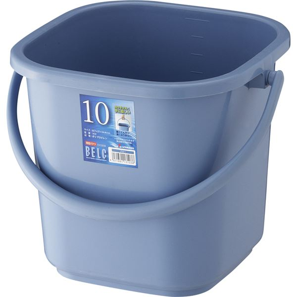 【20セット】 ポリバケツ/清掃用品 【10KB 本体】 ブルー 角型 『ベルク』 〔家庭用品 掃除用品 業務用〕【代引不可】