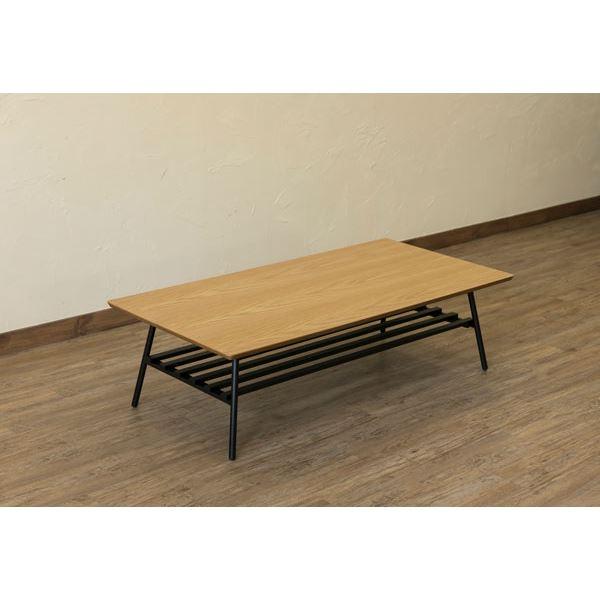 棚付き折れ脚テーブル/折りたたみローテーブル 【幅120cm オーク】 棚板取り外し可 『Luster』 木目調 【完成品】【代引不可】