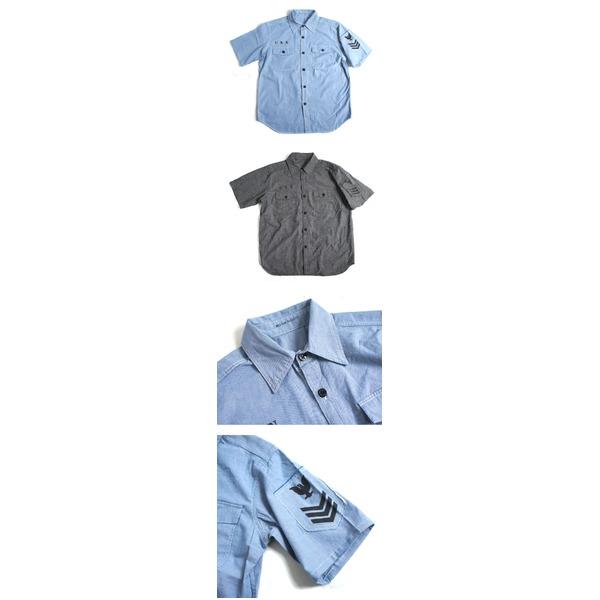 USタイプNAVYシャブレーシャツ ステンシル半袖 J S069YN ブルー 40( L)