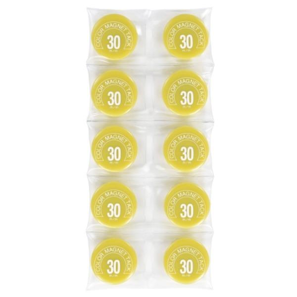 (業務用100セット) ミツヤ カラーマグネット MR-30 黄 30mm 10個