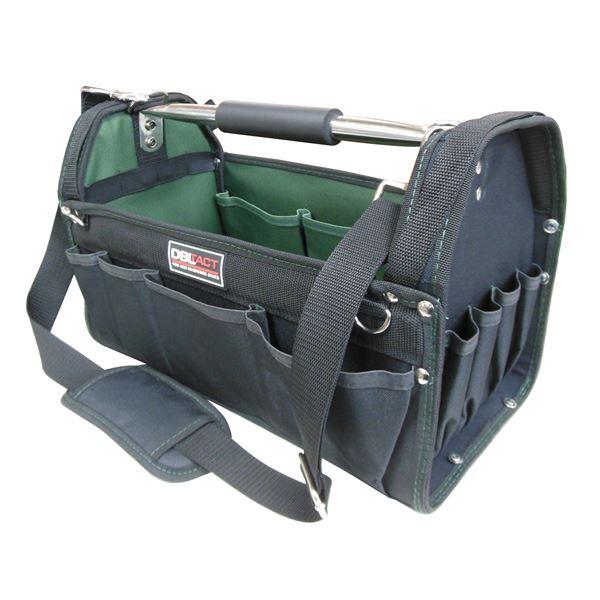 (業務用5個セット) DBLTACT オープンキャリーバッグ(ツールバッグ) 撥水加工 DT-SRB-420 420mm 深緑 〔DIY用品/大工道具〕