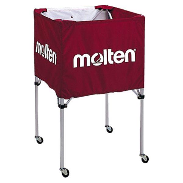 【モルテン Molten】 折りたたみ式 ボールカゴ 【中・背高 屋内用 エンジ】 幅63×奥行63cm キャスター ケース付き