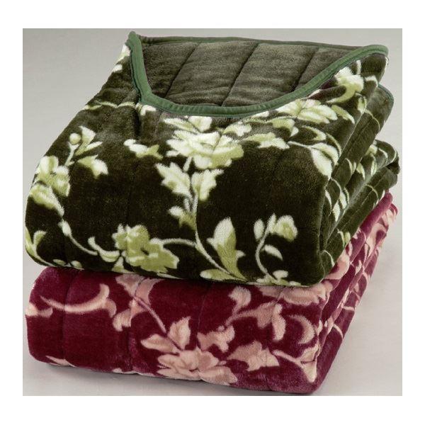 綿入りくりえり毛布 【シングルサイズ】 テイジンRウォーマルR使用マイヤー2枚合せ グリーン(緑)【代引不可】