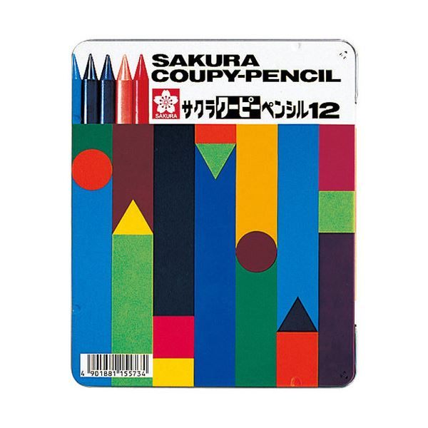 (まとめ) サクラクレパス クーピーペンシル 12色(各色1本) 缶入 FY12 1缶 【×10セット】