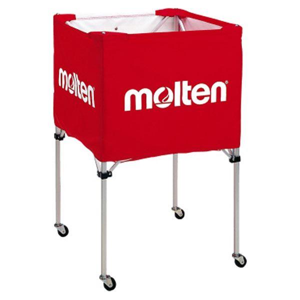 【モルテン Molten】 折りたたみ式 ボールカゴ 【中・背高 屋内用 レッド】 幅63×奥行63cm キャスター ケース付き