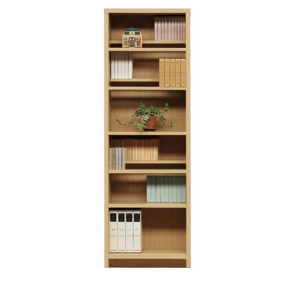 本棚/ブックシェルフ 【幅60cm】 高さ180cm 可動棚板8枚付き 木目調 日本製 ナチュラル 【完成品】【代引不可】