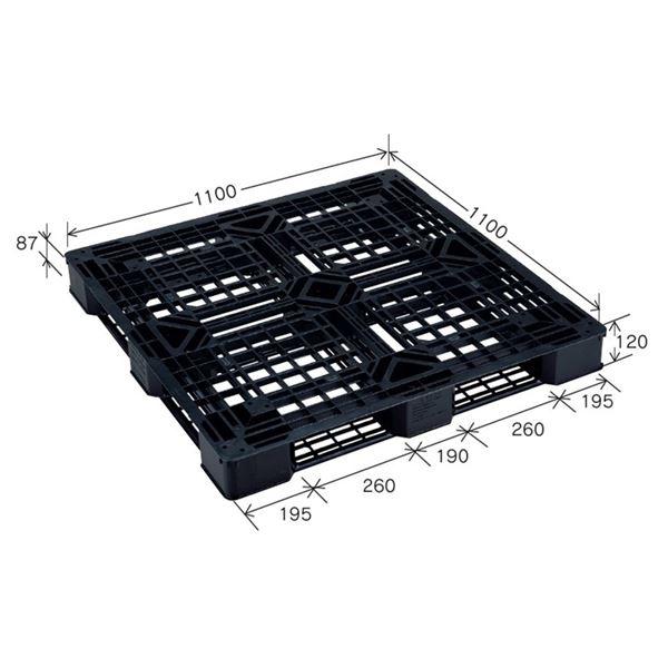 樹脂パレット/軽量パレット 【JL-D4・1111E(5)】 ブラック 材質:再生PP 安全設計【代引不可】