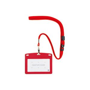 (業務用100セット) オープン工業 吊下名札レザー調 N-123P-RD 赤