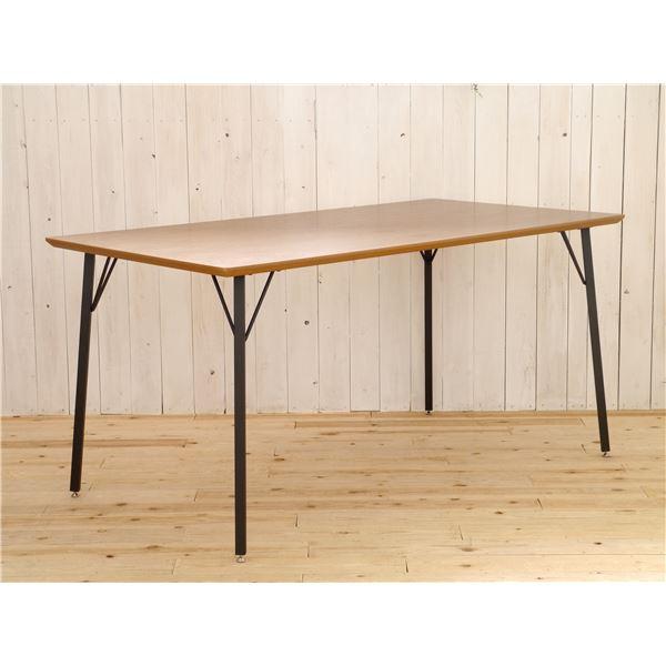 木目調ダイニングテーブル/リビングテーブル 【長方形 幅150cm】 スチール脚 『MONTシリーズ』【代引不可】