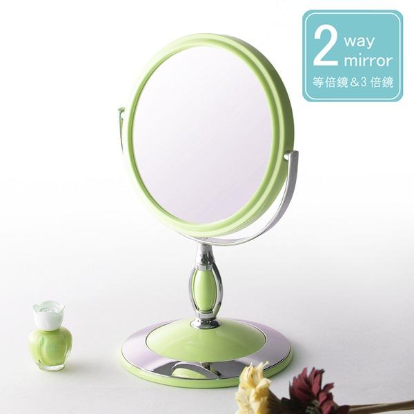 【6個セット】ラウンド卓上ミラー 2WAY(3倍鏡/拡大鏡) 丸型/飛散防止加工/角度調整可/スタンド/鏡/カガミ/完成品/NK-243 パステルグリーン(緑)