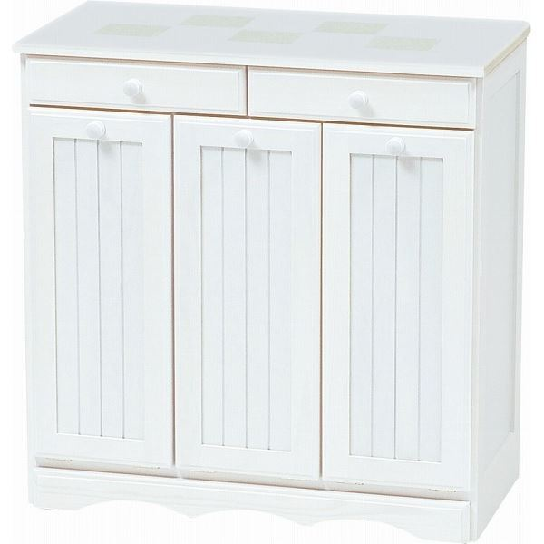 ダストボックス 木製おしゃれゴミ箱 3分別 15Lペール3個/キャスター付き 白(ホワイト) 【完成品】 【代引不可】