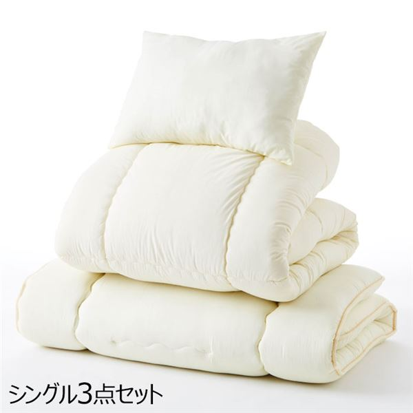 寝具セット 【ダブルサイズ 4点セット】 アイボリー 日本製 『羊毛入り 抗菌・防臭・防ダニ寝具シリーズ』