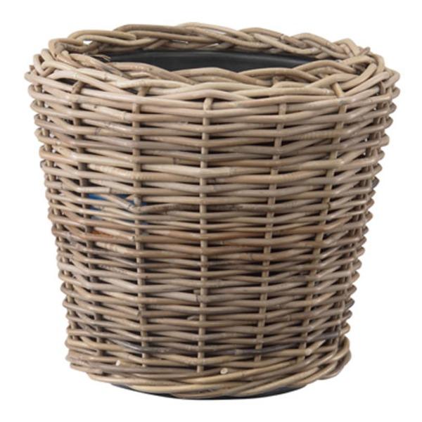 ラタンバスケット/籐かご 【置き型 直径45cm】 プラスチック内容器付き 『モンデリック』 〔園芸 ガーデニング用品〕