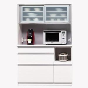 【開梱設置費込】食器棚 NTLシリーズ120cm幅 高さ180cm ダイニングボード ホワイト ハイグロス 【日本製】【代引不可】