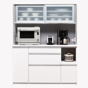 【開梱設置費込】食器棚 NTLシリーズ140cm幅 高さ180cm ダイニングボード ホワイト ハイグロス 【日本製】【代引不可】