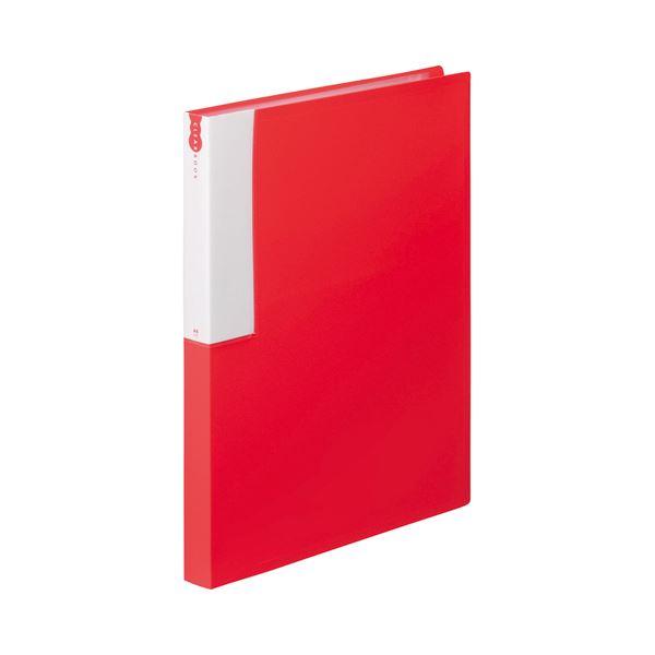 (まとめ) TANOSEE クリヤーブック(クリアブック) A4タテ 36ポケット 背幅24mm レッド 1セット(10冊) 【×5セット】