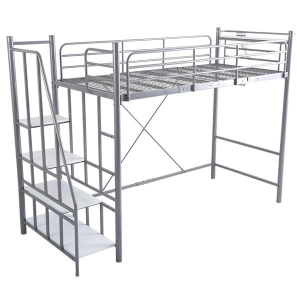 階段付き パイプロフトベッド シングル (フレームのみ) シルバー 2口コンセント付き ベッドフレーム【代引不可】