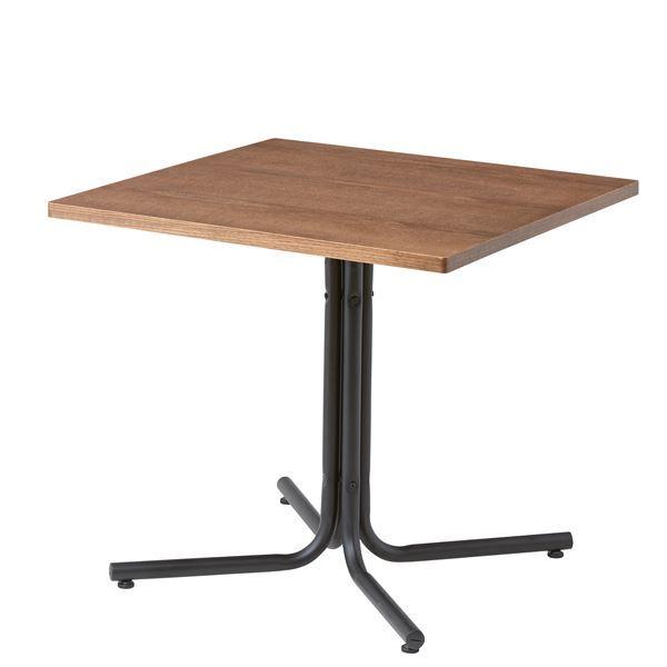 木目調カフェテーブル/リビングテーブル 【正方形 幅75cm】 スチールフレーム ブラウン 『ダリオ』 END-223TBR