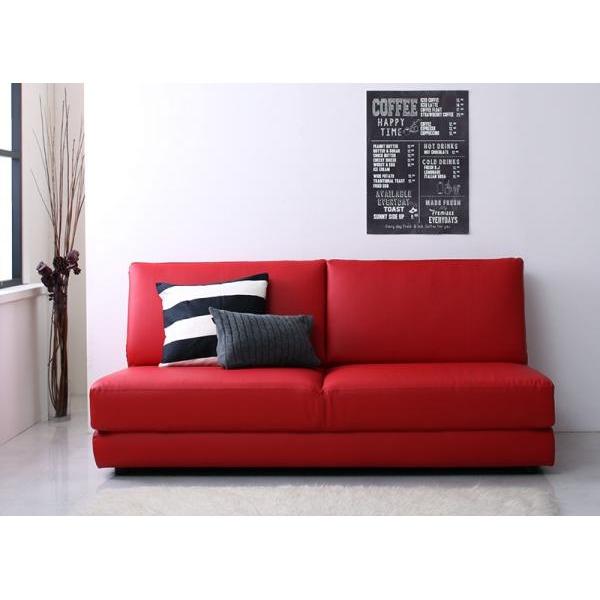 ソファーベッド 幅160cm レッド ふたり寝られるモダンデザインソファベッド Nivelles ニヴェル【代引不可】