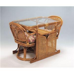 天然籐ダイニング3点セット (360度回転座椅子2脚/棚付き強化ガラステーブル) 【代引不可】