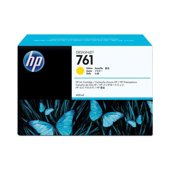 (まとめ) HP761 インクカートリッジ イエロー 400ml 染料系 CM992A 1個 【×3セット】
