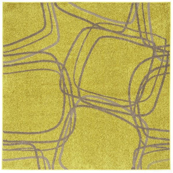 ナイロンラグ/絨毯 【200cm×200cm イエローグリーン】 正方形 日本製 防滑 オールシーズン対応 ホット&クール 『レシェ』【代引不可】