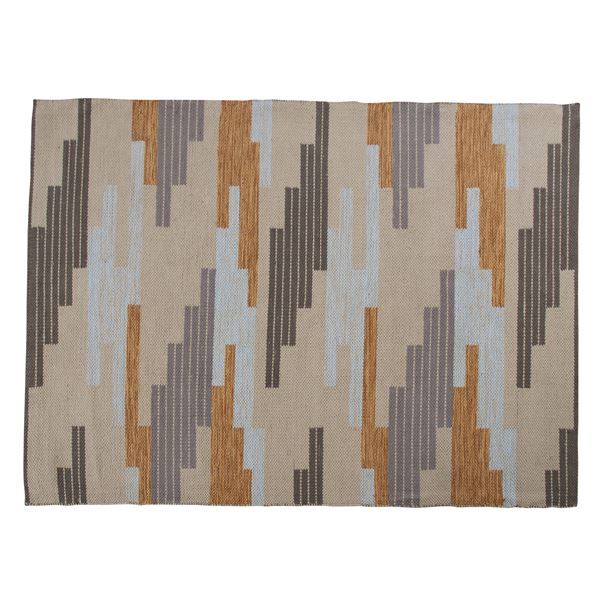 ラグマット/絨毯 【190cm×130cm】 長方形 コットン製 裏面:スベリ止め加工 TTR-111C