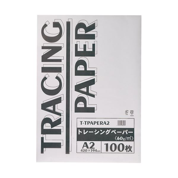 ノート・ふせん・紙製品 画用紙・模造紙・その他工作・装飾用品 トレーシングペーパー (まとめ) TANOSEE トレーシングペーパー60g A2 1パック(100枚) 【×5セット】