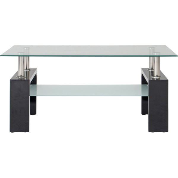 センターテーブル/ローテーブル 【ブラック】 幅100cm 強化ガラス製天板 スチールフレーム 収納棚付き 『フォーカス』【代引不可】
