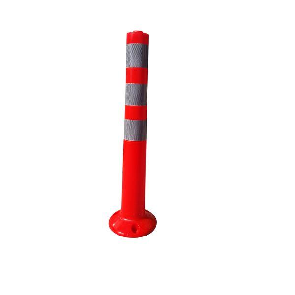 【5本セット】 PVC製視線誘導標/ソフトコーンH 【赤色】 高さ750mm 専用固定アンカーセット【代引不可】