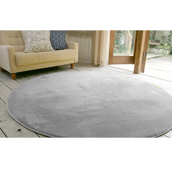 フランネル ラグマット/絨毯 【直径140cm グレー】 円形 ホットカーペット 床暖房可 低反発&高反発 防音 防滑【代引不可】