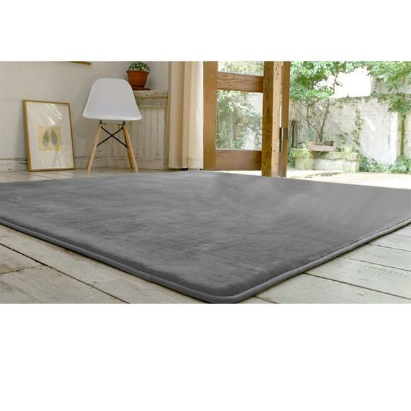フランネル ラグマット/絨毯 【190cm×240cm グレー】 長方形 ホットカーペット 床暖房可 低反発&高反発 防音 防滑【代引不可】