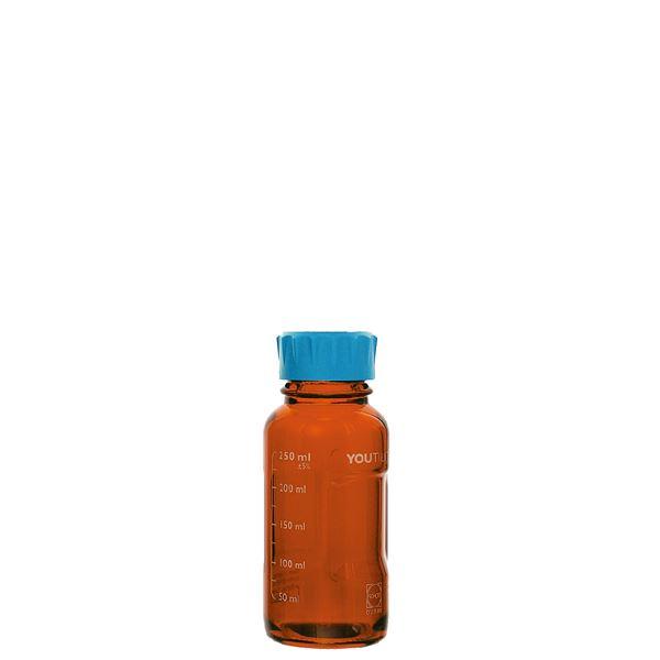 【柴田科学】ユーティリティーねじ口びん 茶褐色 水キャップ付 250mL【4個】 017320-250A