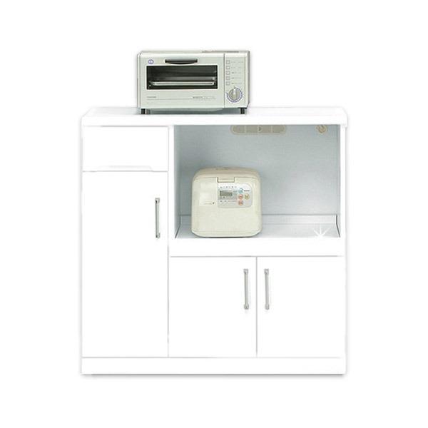 シンプルで使いやすい、おしゃれなキッチン収納/キッチンボード キッチンカウンター 幅90cm 二口コンセント/可動棚/キャスター付き 日本製 ホワイト(白) 【完成品 開梱設置】【代引不可】