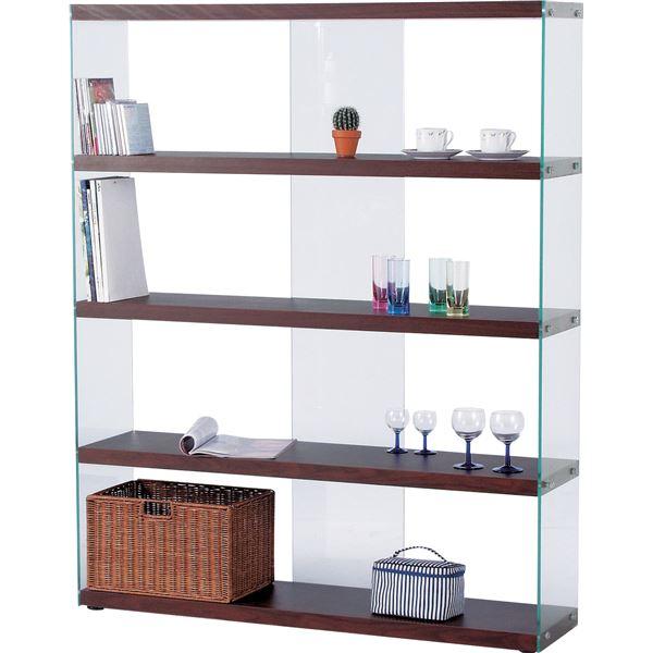 ワイドグラスオープンシェルフ/収納棚 【幅122cm】 ブラウン 強化ガラス使用 HAB-625BR