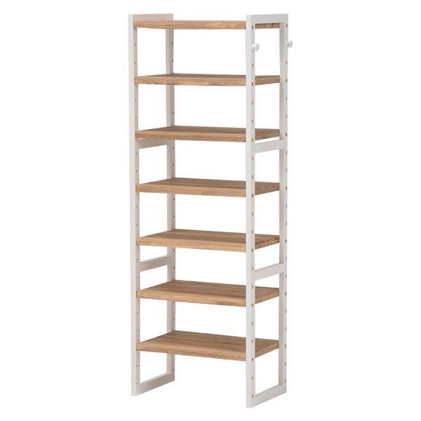 シューズラック(下駄箱/収納棚) 6段 幅45cm 木製 スリム 高さ調節可 フック/可動棚付き アイボリー 【代引不可】