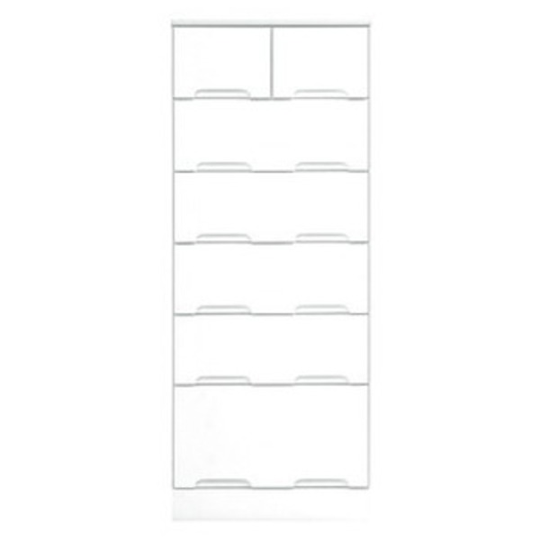 ハイチェスト 6段 【幅50cm】 スライドレール付き引き出し 日本製 ホワイト(白) 【完成品 開梱設置】【代引不可】