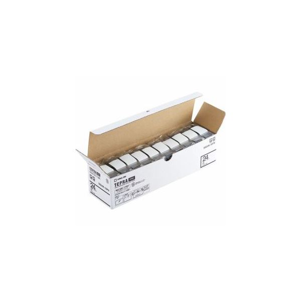 キングジム SS24K-10PN テプラPROテープ エコパック 白 黒文字 24mm幅 8m 10個入