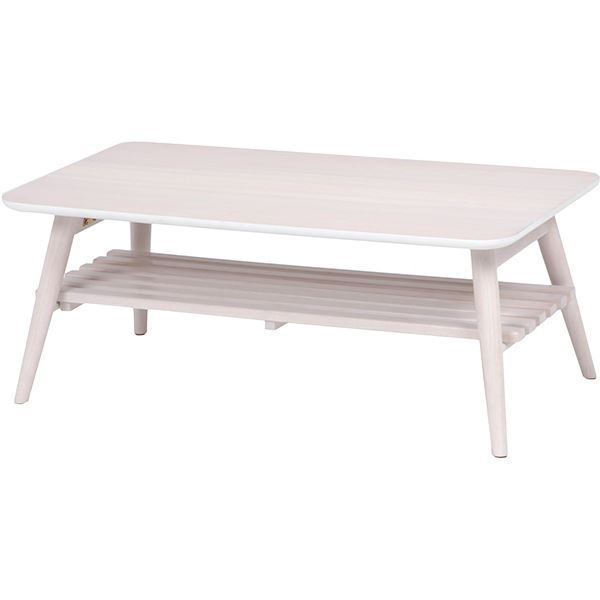 折れ脚テーブル(ローテーブル/折りたたみテーブル) 長方形 幅90cm 木製 収納棚付き ホワイト(白)【代引不可】