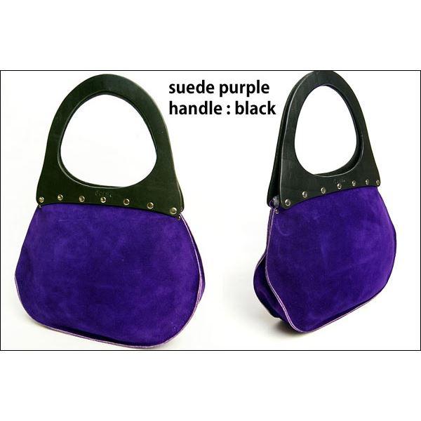 ★dean(ディーン) round machine ハンドバッグ 紫 ハンドル/黒