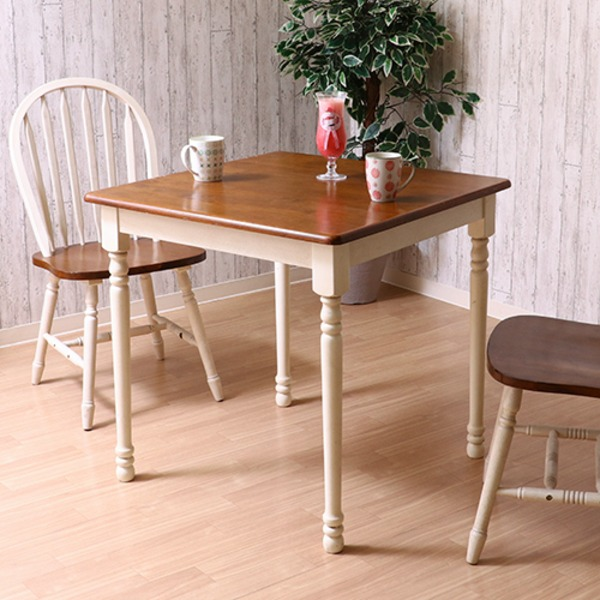 ダイニングテーブル/リビングテーブル 単品 【ホワイト×ブラウン 幅74cm】 木製 『マキアート』【代引不可】