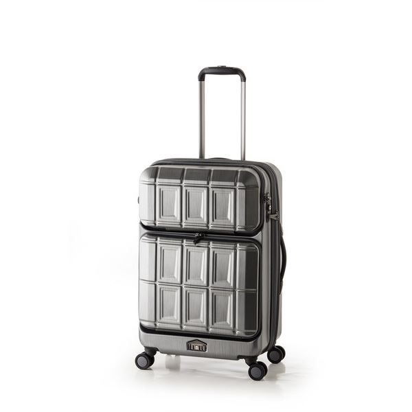 スーツケース 【マットブラッシュブラック】 拡張式(54L+8L) ダブルフロントオープン アジア・ラゲージ 『PANTHEON』