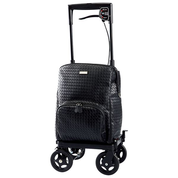 横引きキャリーバッグ/メロディ プリモ 【左用/左手にブレーキ】 アルミ製 積載重量約8kg メッシュブラック