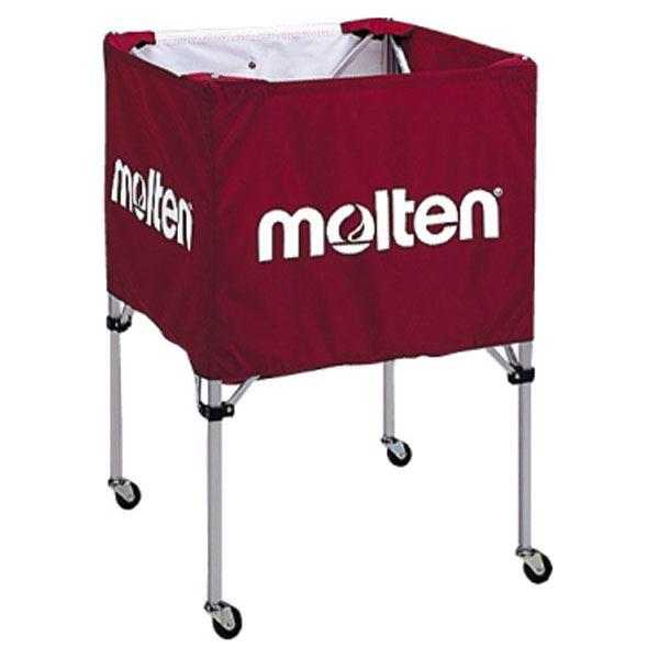 【モルテン Molten】 折りたたみ式 ボールカゴ 【中・背低 エンジ】 幅63×奥行63cm キャスター ケース付き