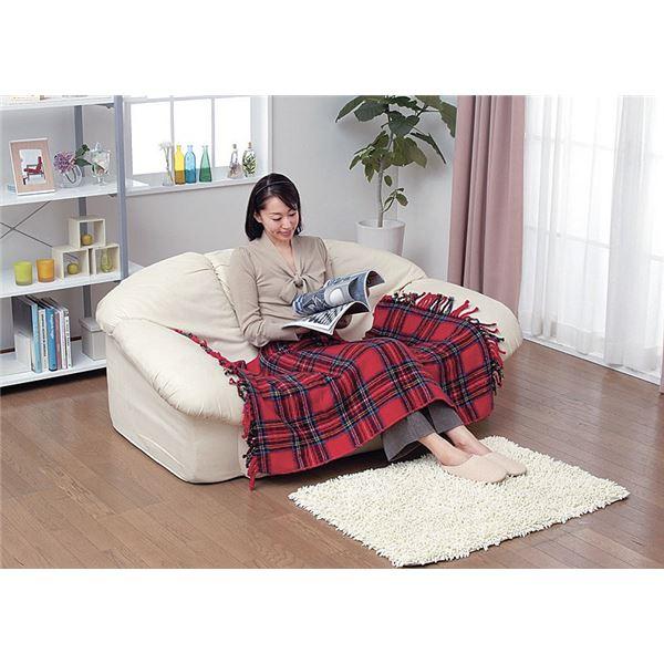 かわいい電気ひざ掛け毛布 ダニ退治機能/室温センサー付き 洗濯可 日本製 長方形 82cm×140cm レッド(赤)【代引不可】