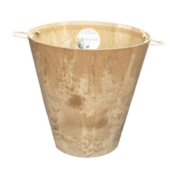 底面給水型 植木鉢/プランター 【ラウンド型 ベージュ 直径47cm】 取っ手 底栓付 『アートストーン』 〔園芸 ガーデニング用品〕