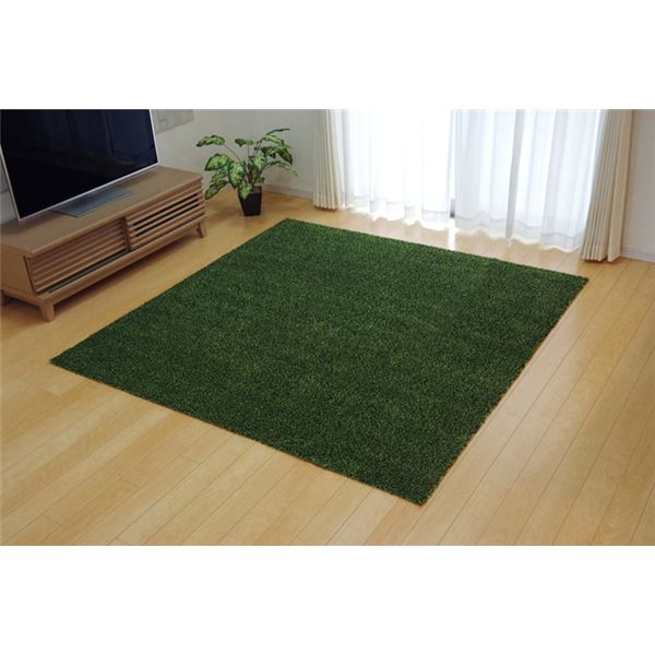 ラグマット カーペット 3畳 洗える タフト風 グリーン 約140×340cm 裏:すべりにくい加工 (ホットカーペット対応)