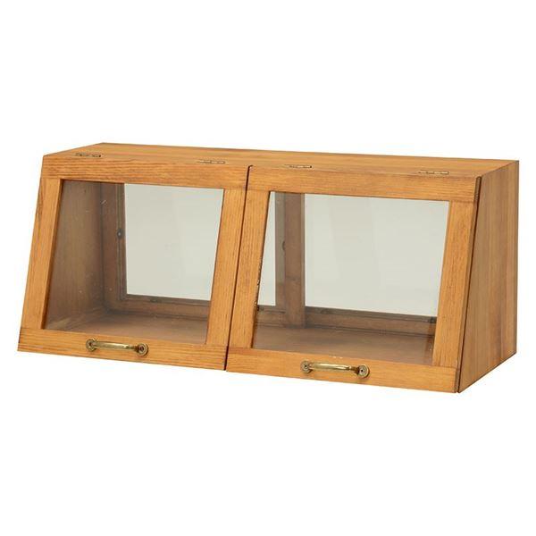 カウンター上ガラスケース(キッチン収納/スパイスラック) 木製 幅60cm×高さ25cm ナチュラル 取っ手/引き戸付き【代引不可】
