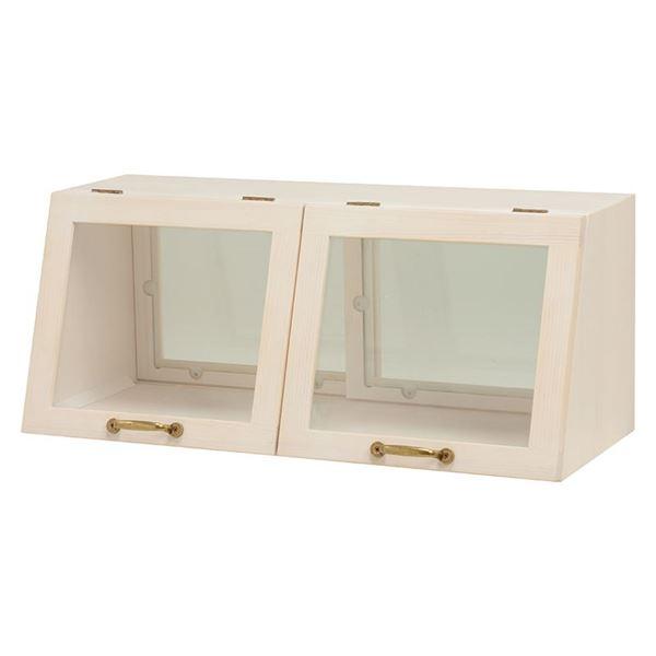 カウンター上ガラスケース(キッチン収納/スパイスラック) 木製 幅60cm×高さ25cm ホワイト(白) 取っ手/引き戸付き【代引不可】